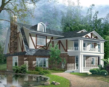 北美二层豪华欧式别墅效果图