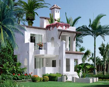 二层度假休闲豪华别墅外观效果图