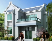 [永云别墅]AT205新农村二层别墅带晒台全套设计图纸8mX9.7M