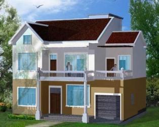 at363二层新农村简约大气小别墅建筑设计图纸11m×12m图片