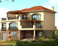 AT163三层豪华复式欧陆风格别墅建筑设计图纸16.7m×13.7m