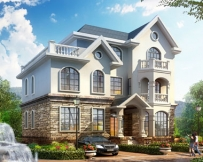永云别墅AT075三层欧式风格别墅全套设计图纸15mx10.8m