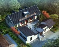 永云别墅AT227一层半四合院中式风格别墅建筑设计图纸17.58mx18.9m