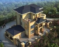 永云别墅AT1669三层双车库豪华欧式别墅建筑设计图纸11.6mx11.2m