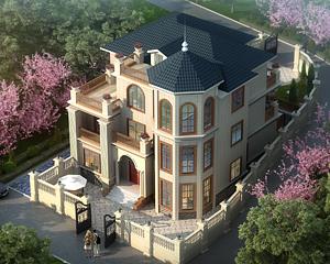 AT1732旅游区/景区特色三层复式楼别墅建筑设计图纸12.7mx15.3m