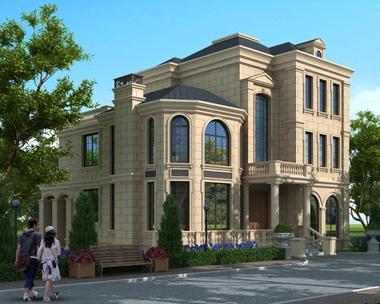 at1772法式风格三层豪华大气复式楼别墅全套建筑施工图纸12.4mx15.5m