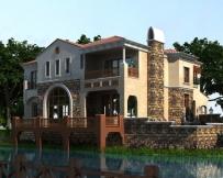 奢华大气AT1653西班牙风格二层带地下室及下沉庭院全套别墅图纸17.5mX16m