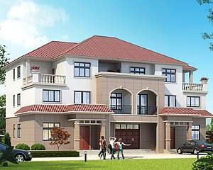 2020新款AT1826三层联排兄弟合建别墅设计施工图纸20mX12.5m