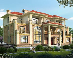 新款AT1852兄弟共堂屋双拼三层复式别墅设计施工图纸26mX15.5m