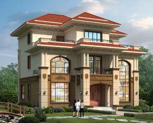 AT1876占地156平米三层复式豪华大气别墅设计施工图纸13.6mX13m