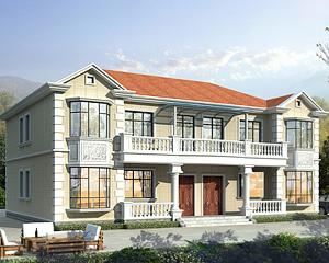 AT1911简欧风格二层兄弟双拼别墅房屋建筑设计施工图纸18mX15.8m
