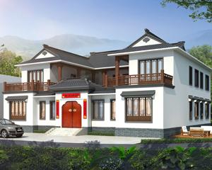 AT1923经典大气二层新中式四合院别墅设计图纸19mX19.5m