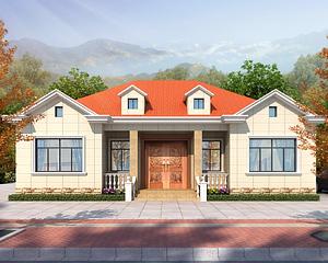 占地166平米AT1936一层简洁大方新款乡村别墅设计施工图纸14.9mX11m