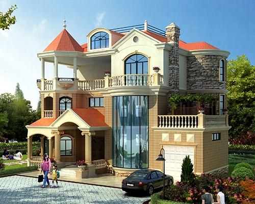 AT1775新农村私人漂亮三层带车库复式楼别墅设计施工图纸18mX15.5m