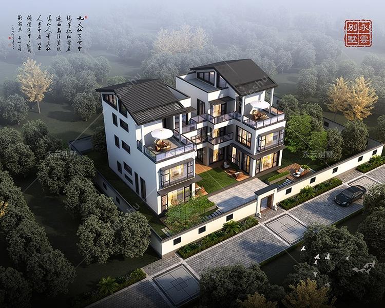 现代新中式/大玻璃全景窗/兄弟双拼合院式三层别墅案例