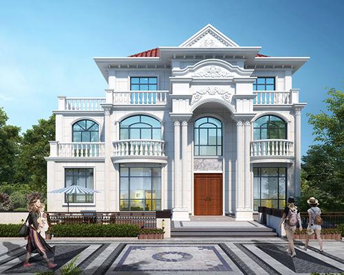 AT1943欧式风格四间三层豪华别墅建筑设计施工图纸15.4mX8.2m