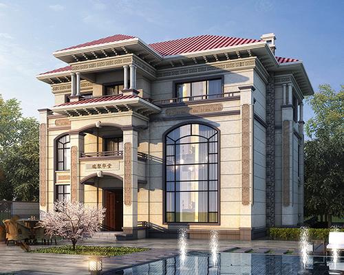 欧式新贵/AT2801新款/三层复式楼新农村欧式别墅效果图及全套施工图