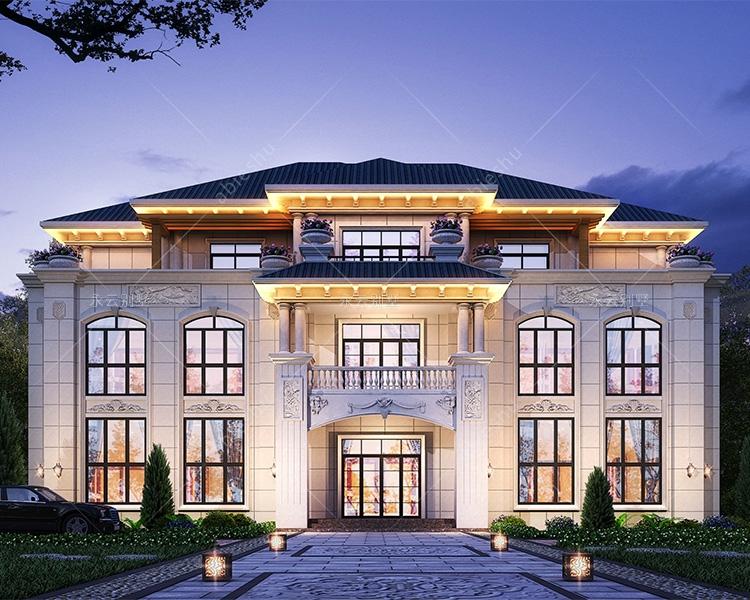 豪华欧式AT2812兄弟合建共堂屋复式楼别墅设计图纸26mX15m